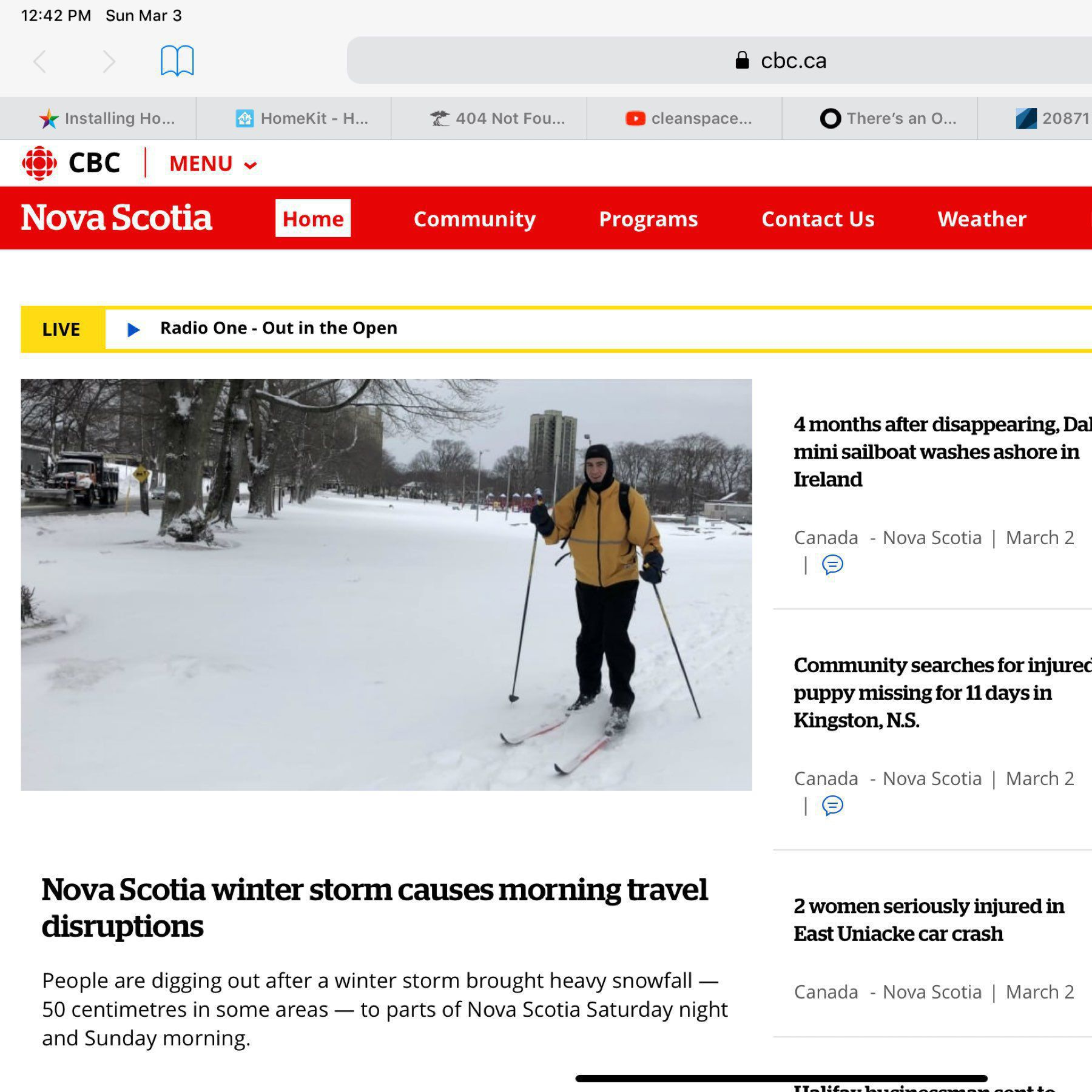 A picture of me cross-country skiing of the front page of the CBC news website.