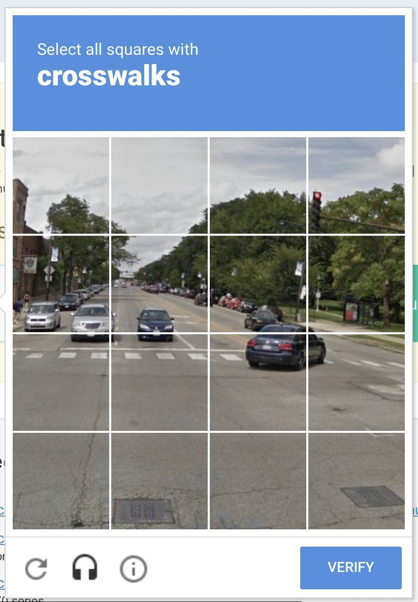 A CAPTCHA asking the user to identify all squares with crosswalks.