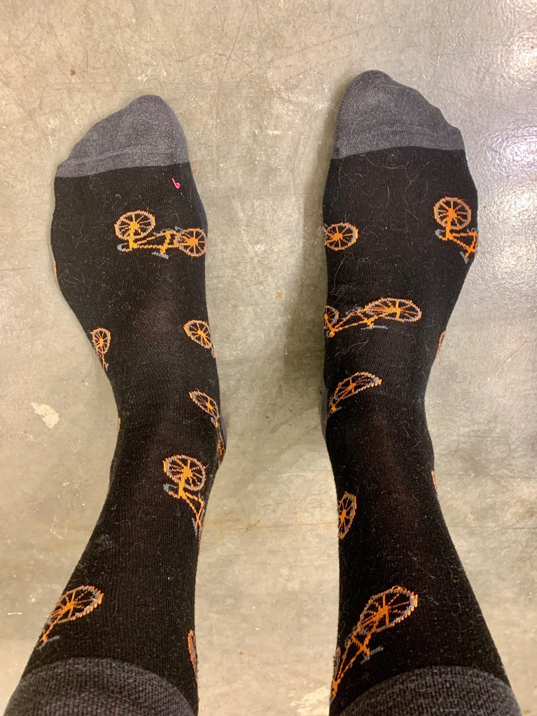 Dress socks with bicycles on them