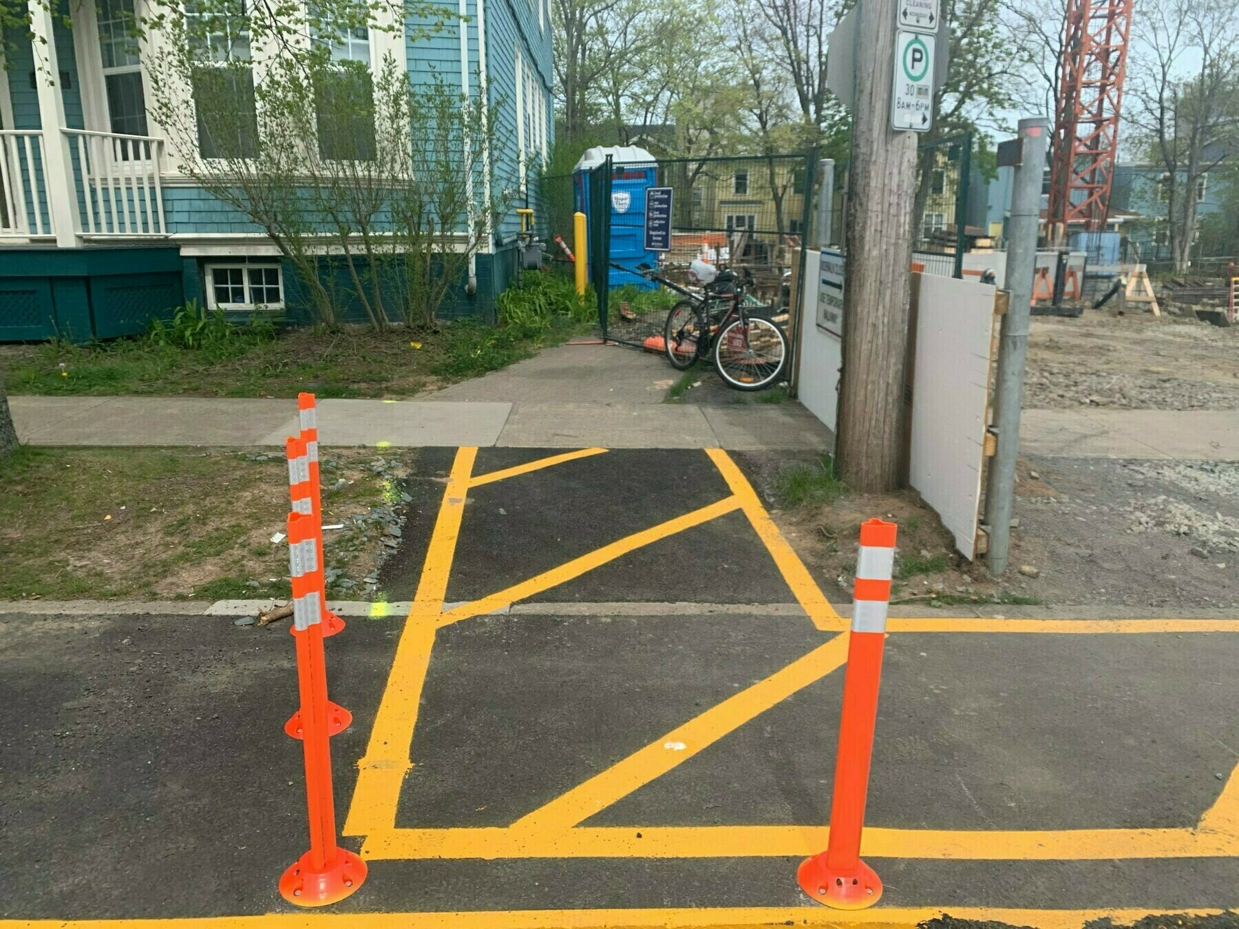 A temporary sidewalk installed around a construction site.