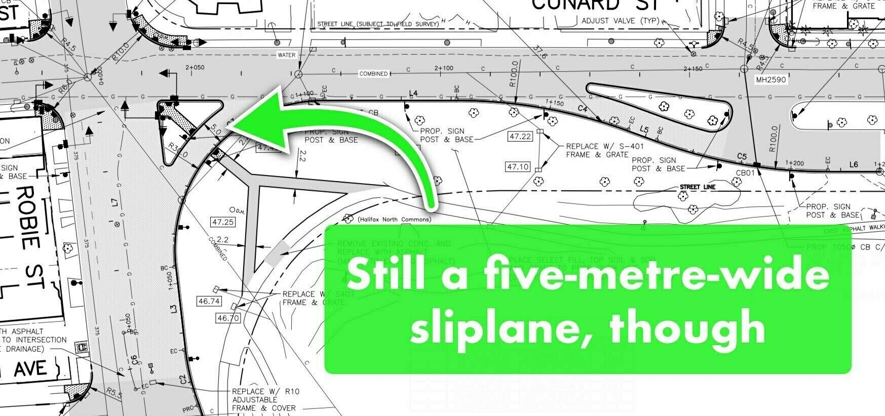An engineering schematic with an arrow pointing at the five-metre-wide sliplane.