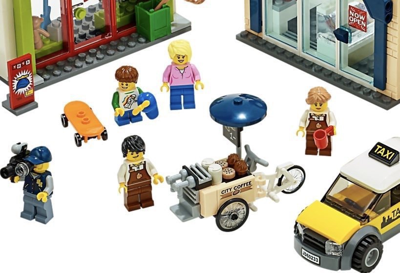 A Lego cargo bike used as a mobile coffee shop