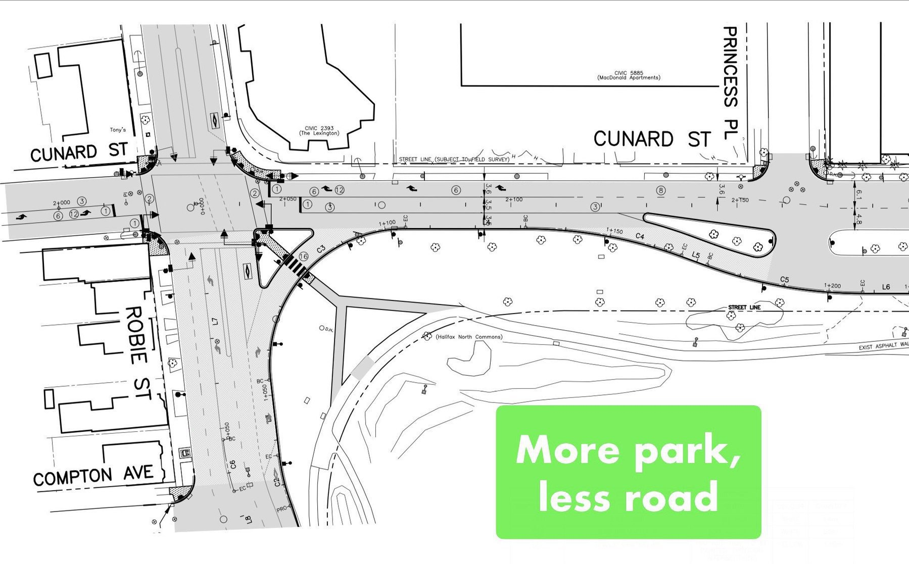 An engineering schematic showing the corner of the common, with much more space for park, and less road.