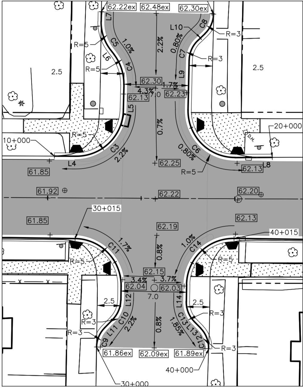 Closeup engineering diagrams showing new curb bumpouts