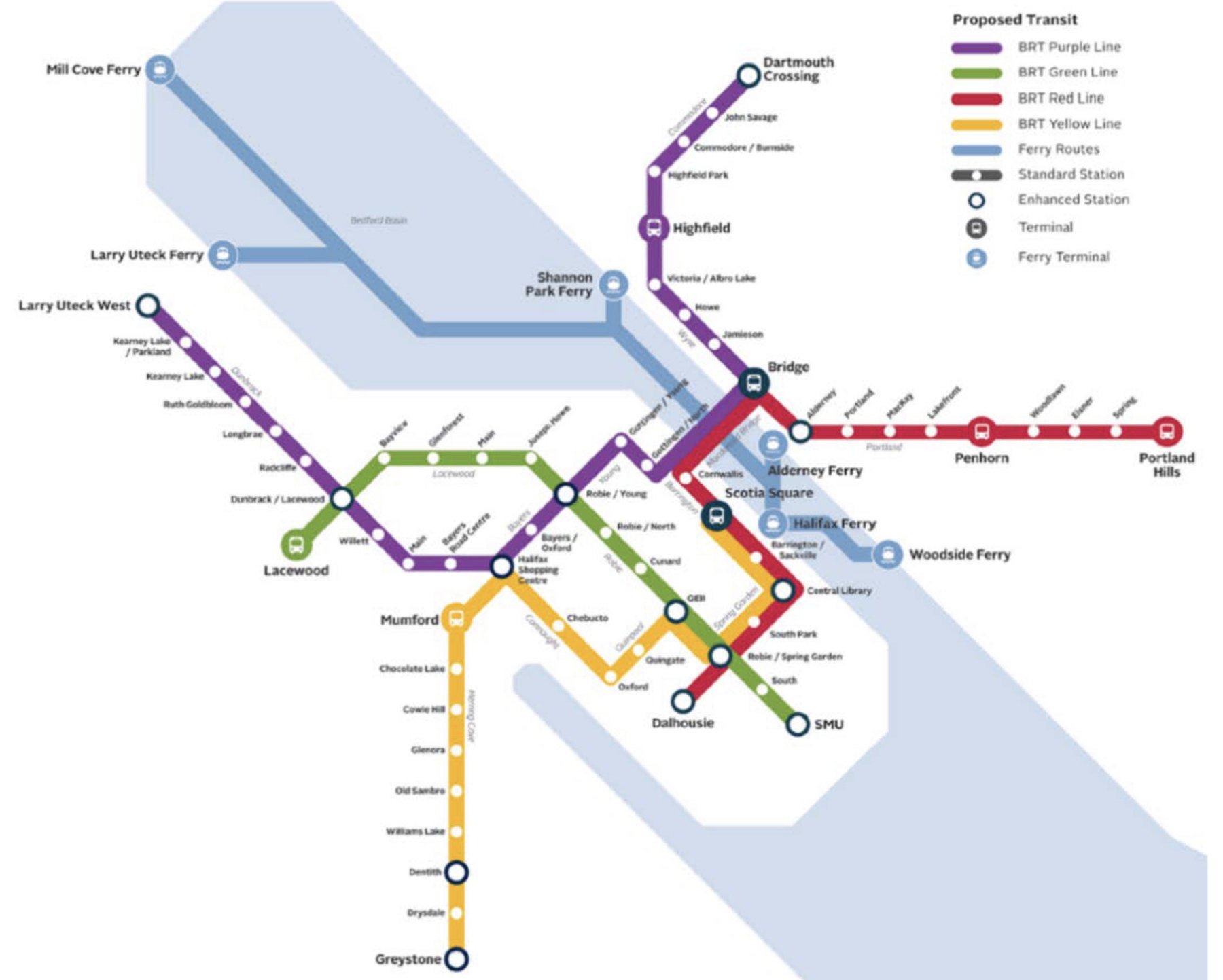 A subway-system style map of Halifax highlight new rapid bus and ferry routes